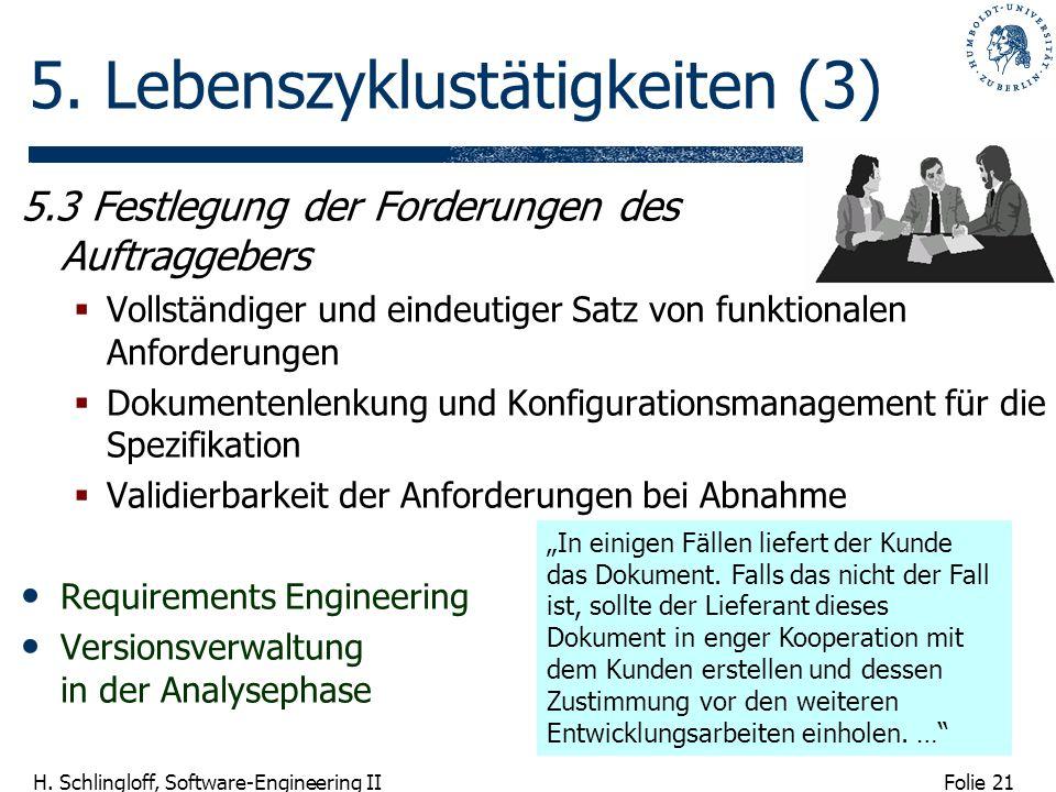Folie 21 H. Schlingloff, Software-Engineering II 5. Lebenszyklustätigkeiten (3) 5.3 Festlegung der Forderungen des Auftraggebers Vollständiger und ein