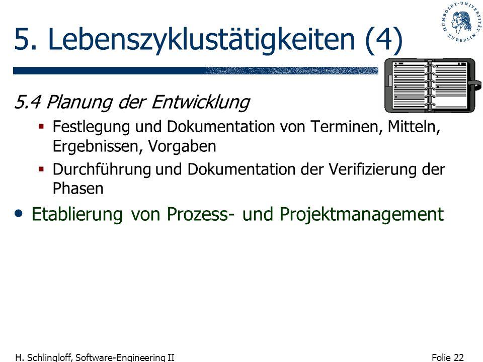 Folie 22 H. Schlingloff, Software-Engineering II 5. Lebenszyklustätigkeiten (4) 5.4 Planung der Entwicklung Festlegung und Dokumentation von Terminen,