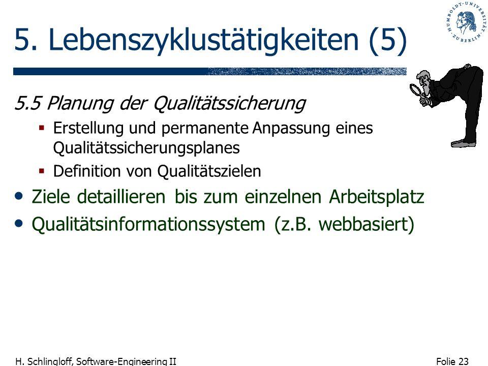 Folie 23 H. Schlingloff, Software-Engineering II 5. Lebenszyklustätigkeiten (5) 5.5 Planung der Qualitätssicherung Erstellung und permanente Anpassung