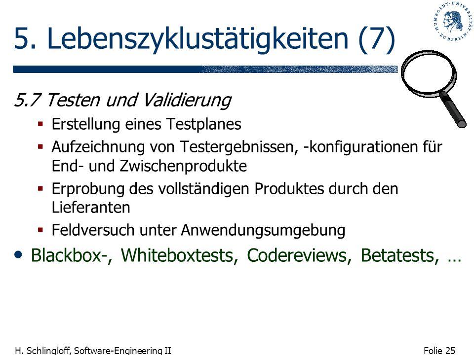 Folie 25 H. Schlingloff, Software-Engineering II 5. Lebenszyklustätigkeiten (7) 5.7 Testen und Validierung Erstellung eines Testplanes Aufzeichnung vo