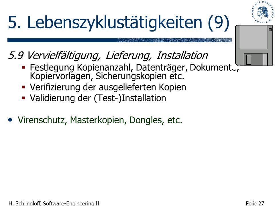 Folie 27 H. Schlingloff, Software-Engineering II 5. Lebenszyklustätigkeiten (9) 5.9 Vervielfältigung, Lieferung, Installation Festlegung Kopienanzahl,