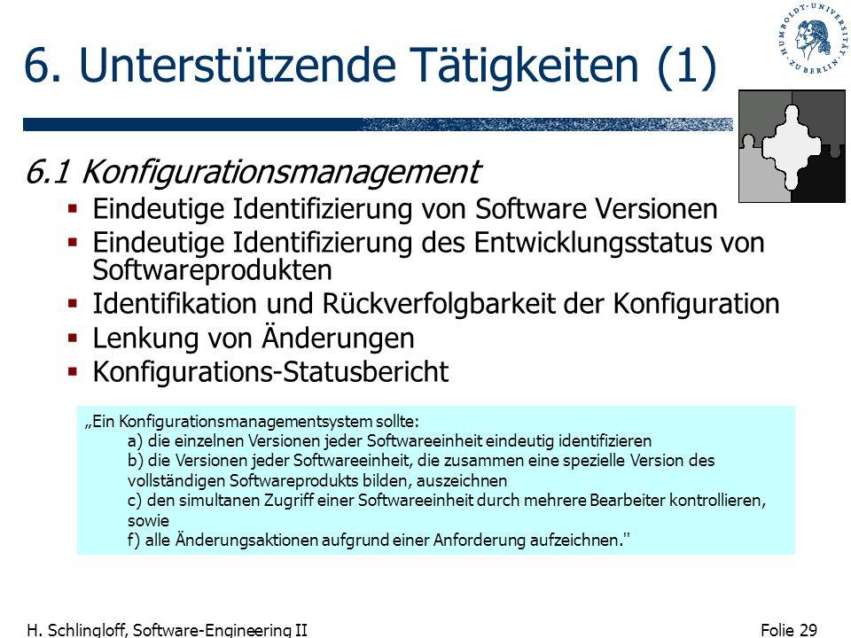 Folie 29 H. Schlingloff, Software-Engineering II 6. Unterstützende Tätigkeiten (1) 6.1 Konfigurationsmanagement Eindeutige Identifizierung von Softwar