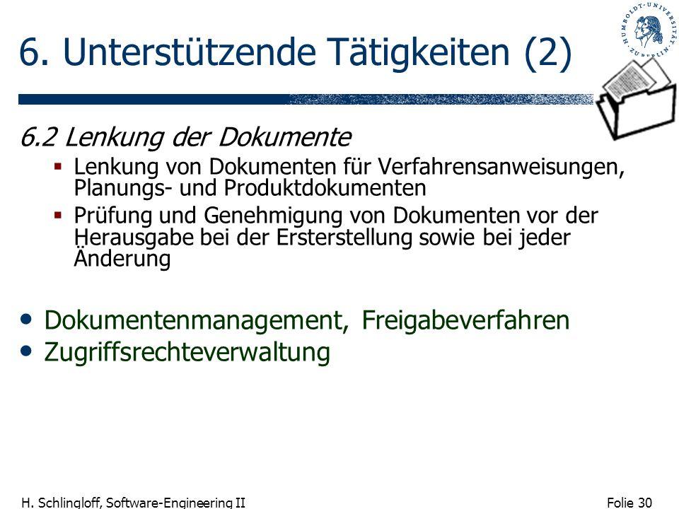 Folie 30 H. Schlingloff, Software-Engineering II 6. Unterstützende Tätigkeiten (2) 6.2 Lenkung der Dokumente Lenkung von Dokumenten für Verfahrensanwe