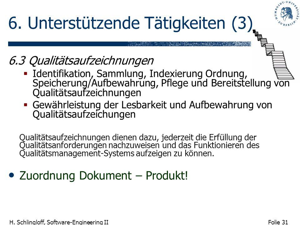Folie 31 H. Schlingloff, Software-Engineering II 6. Unterstützende Tätigkeiten (3) 6.3 Qualitätsaufzeichnungen Identifikation, Sammlung, Indexierung O