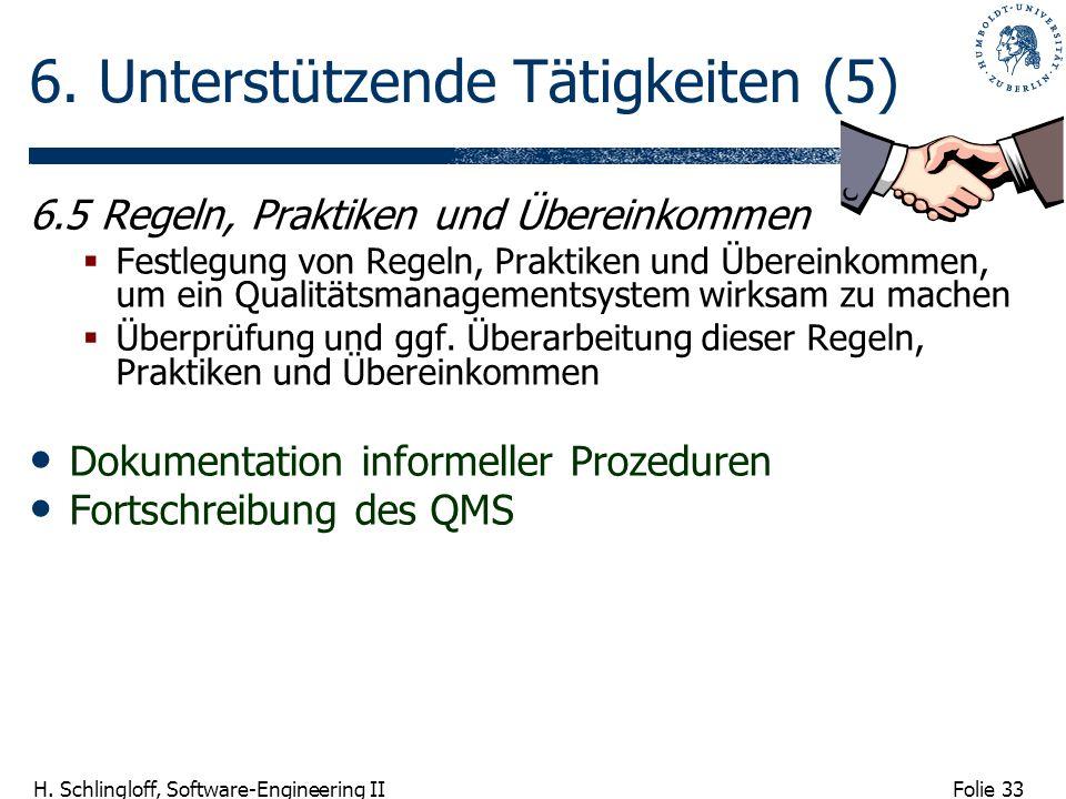 Folie 33 H. Schlingloff, Software-Engineering II 6. Unterstützende Tätigkeiten (5) 6.5 Regeln, Praktiken und Übereinkommen Festlegung von Regeln, Prak