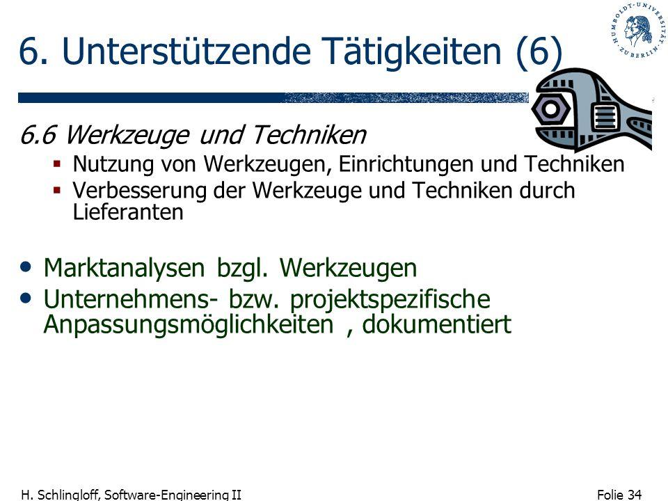 Folie 34 H. Schlingloff, Software-Engineering II 6. Unterstützende Tätigkeiten (6) 6.6 Werkzeuge und Techniken Nutzung von Werkzeugen, Einrichtungen u