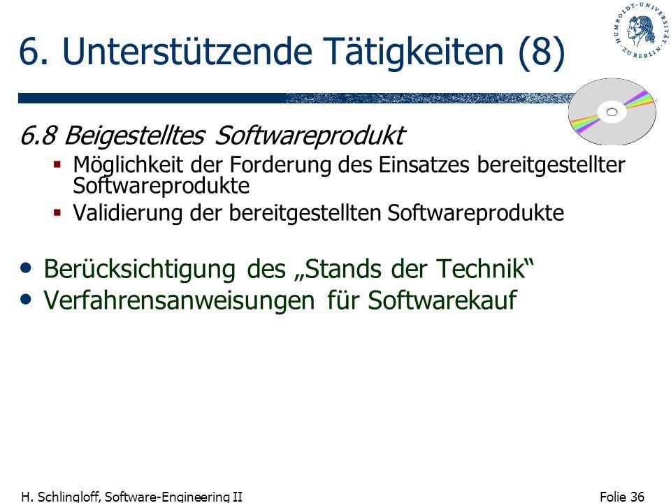 Folie 36 H. Schlingloff, Software-Engineering II 6. Unterstützende Tätigkeiten (8) 6.8 Beigestelltes Softwareprodukt Möglichkeit der Forderung des Ein