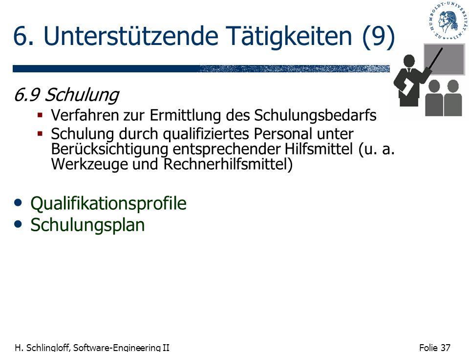 Folie 37 H. Schlingloff, Software-Engineering II 6. Unterstützende Tätigkeiten (9) 6.9 Schulung Verfahren zur Ermittlung des Schulungsbedarfs Schulung