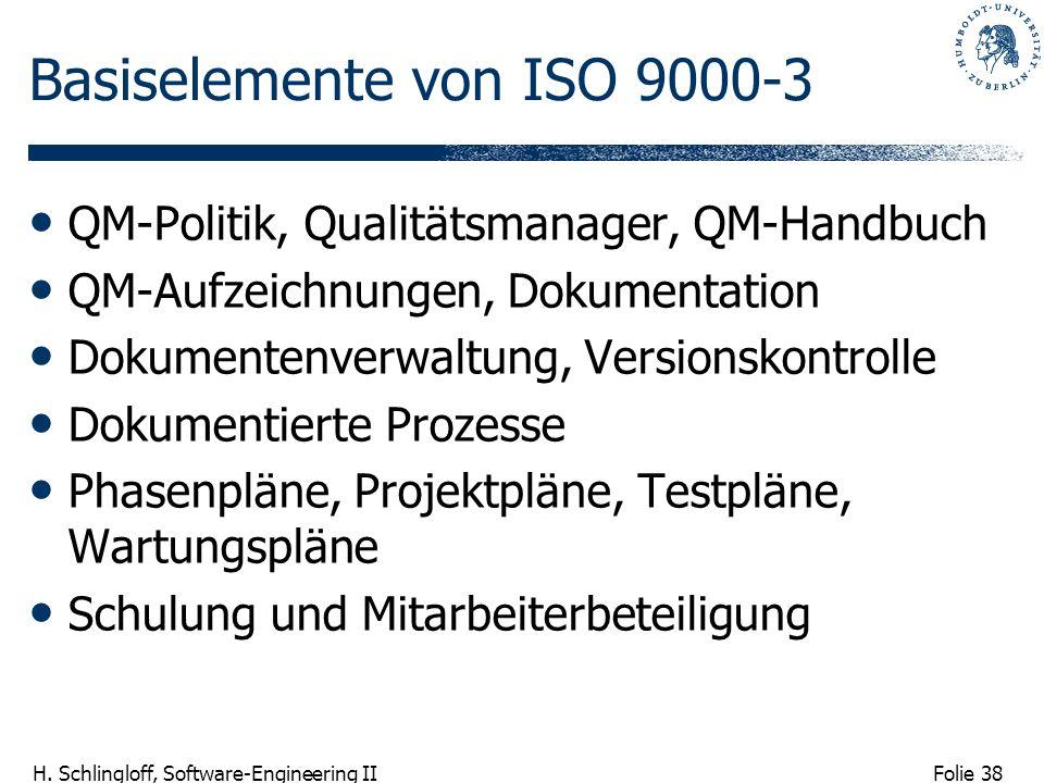 Folie 38 H. Schlingloff, Software-Engineering II Basiselemente von ISO 9000-3 QM-Politik, Qualitätsmanager, QM-Handbuch QM-Aufzeichnungen, Dokumentati