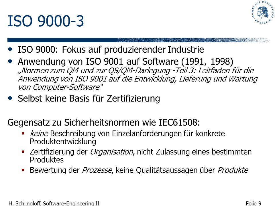 Folie 9 H. Schlingloff, Software-Engineering II ISO 9000-3 ISO 9000: Fokus auf produzierender Industrie Anwendung von ISO 9001 auf Software (1991, 199