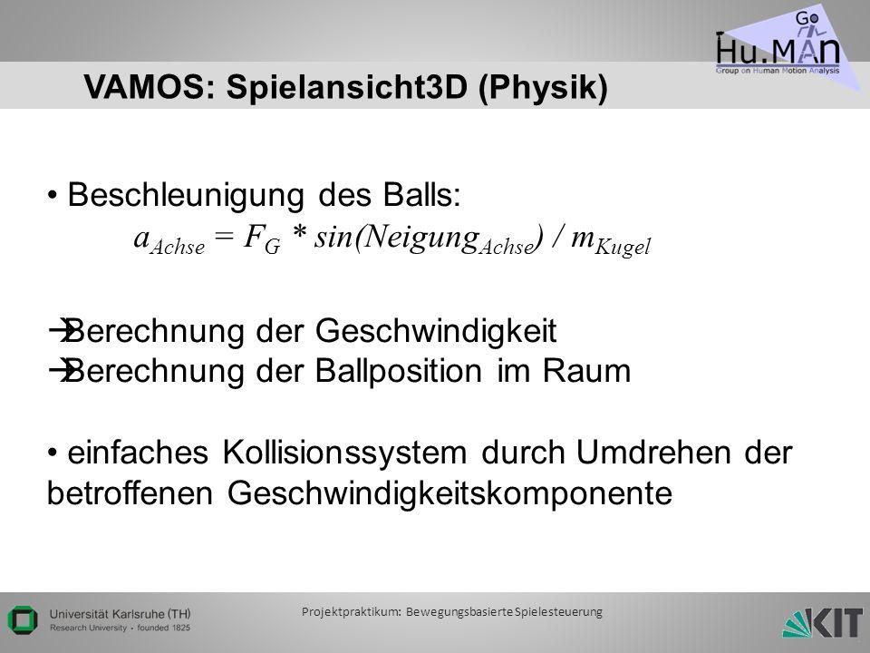 VAMOS: Spielansicht3D (Physik) Beschleunigung des Balls: a Achse = F G * sin(Neigung Achse ) / m Kugel Berechnung der Geschwindigkeit Berechnung der Ballposition im Raum einfaches Kollisionssystem durch Umdrehen der betroffenen Geschwindigkeitskomponente Projektpraktikum: Bewegungsbasierte Spielesteuerung