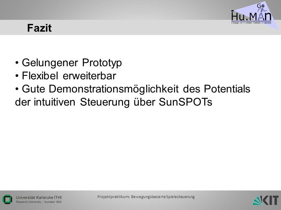 Fazit Gelungener Prototyp Flexibel erweiterbar Gute Demonstrationsmöglichkeit des Potentials der intuitiven Steuerung über SunSPOTs Projektpraktikum: Bewegungsbasierte Spielesteuerung