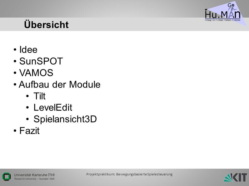 Übersicht Idee SunSPOT VAMOS Aufbau der Module Tilt LevelEdit Spielansicht3D Fazit Projektpraktikum: Bewegungsbasierte Spielesteuerung