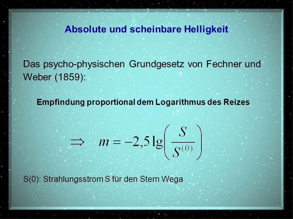 Absolute und scheinbare Helligkeit Das psycho-physischen Grundgesetz von Fechner und Weber (1859): Empfindung proportional dem Logarithmus des Reizes