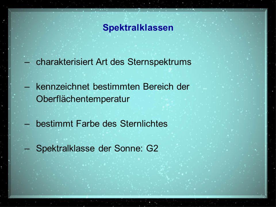 Spektralklassen –charakterisiert Art des Sternspektrums –kennzeichnet bestimmten Bereich der Oberflächentemperatur –bestimmt Farbe des Sternlichtes –S