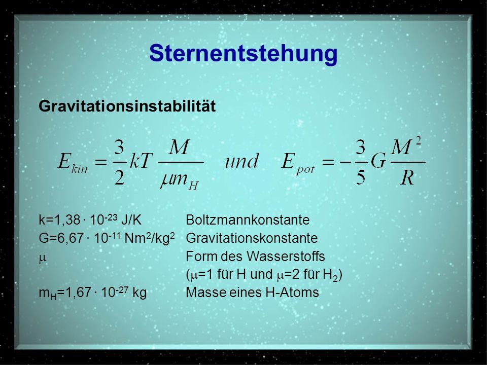 Sternentstehung Gravitationsinstabilität k=1,38. 10 -23 J/KBoltzmannkonstante G=6,67. 10 -11 Nm 2 /kg 2 Gravitationskonstante Form des Wasserstoffs (