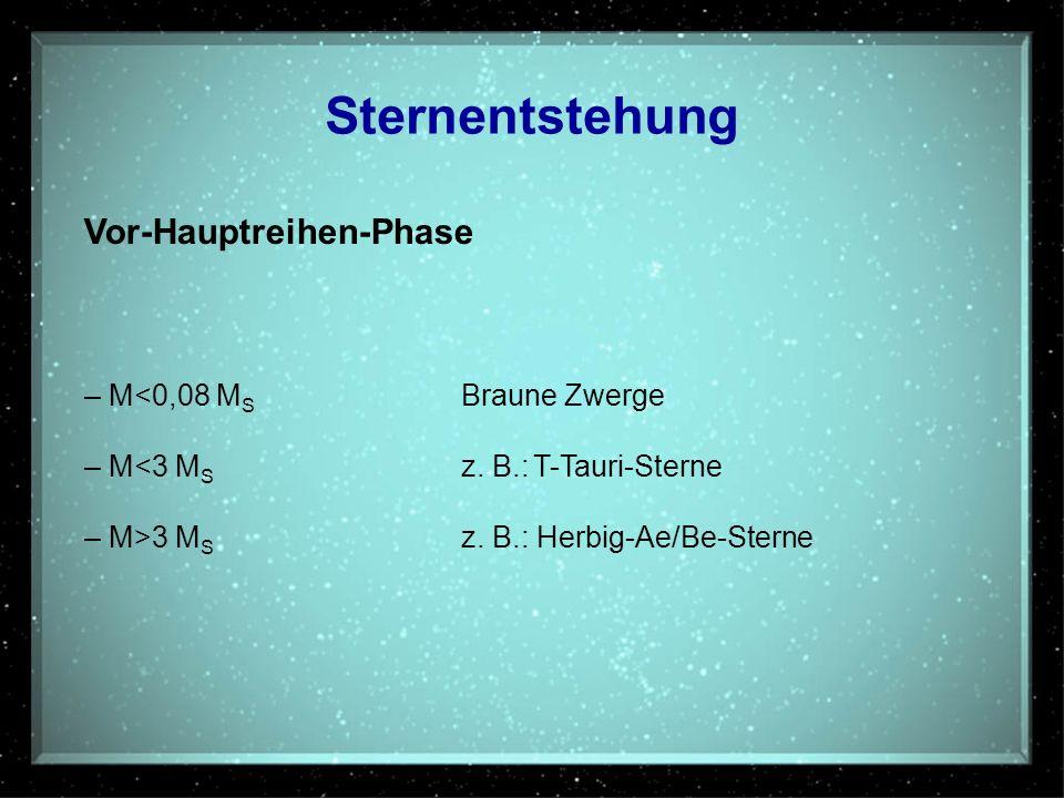 Sternentstehung Vor-Hauptreihen-Phase – M<0,08 M S Braune Zwerge – M<3 M S z. B.: T-Tauri-Sterne – M>3 M S z. B.: Herbig-Ae/Be-Sterne