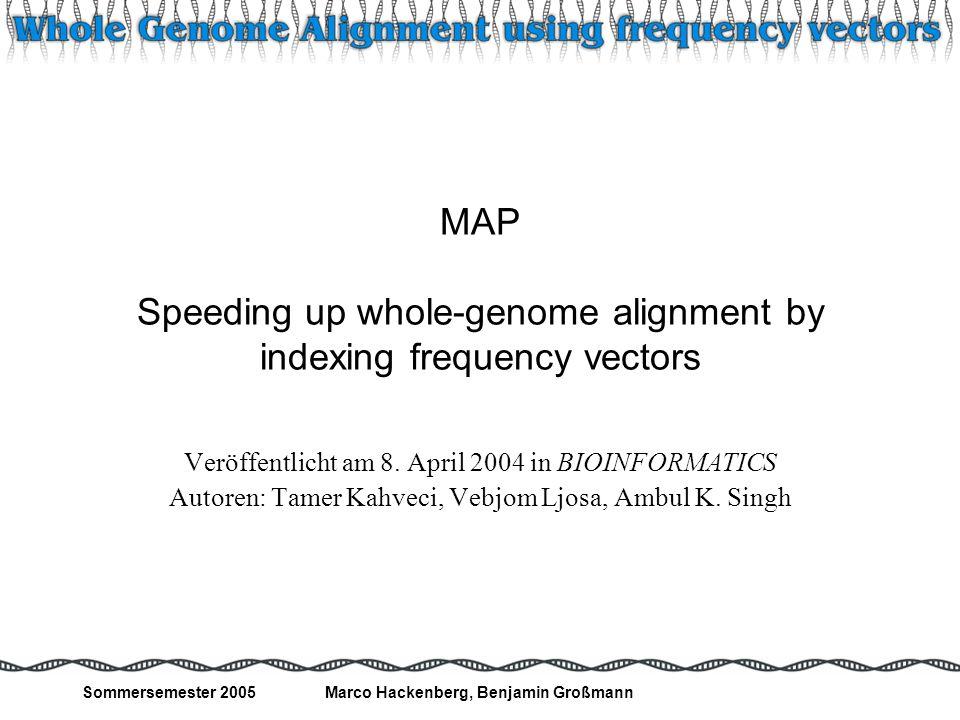 Sommersemester 2005Marco Hackenberg, Benjamin Großmann 22 Experimentelle Bewertung: Qualität Alignment von 2 E.coli Strängen mittels MAP – Inversion eines Substrings