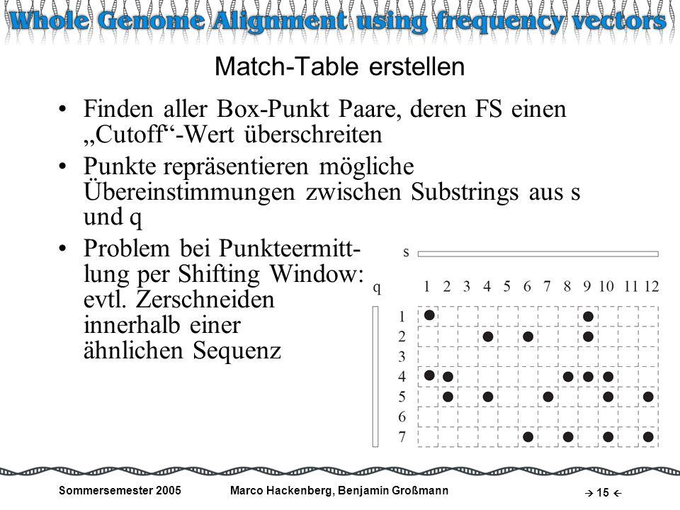 Sommersemester 2005Marco Hackenberg, Benjamin Großmann 15 Match-Table erstellen Finden aller Box-Punkt Paare, deren FS einen Cutoff-Wert überschreiten