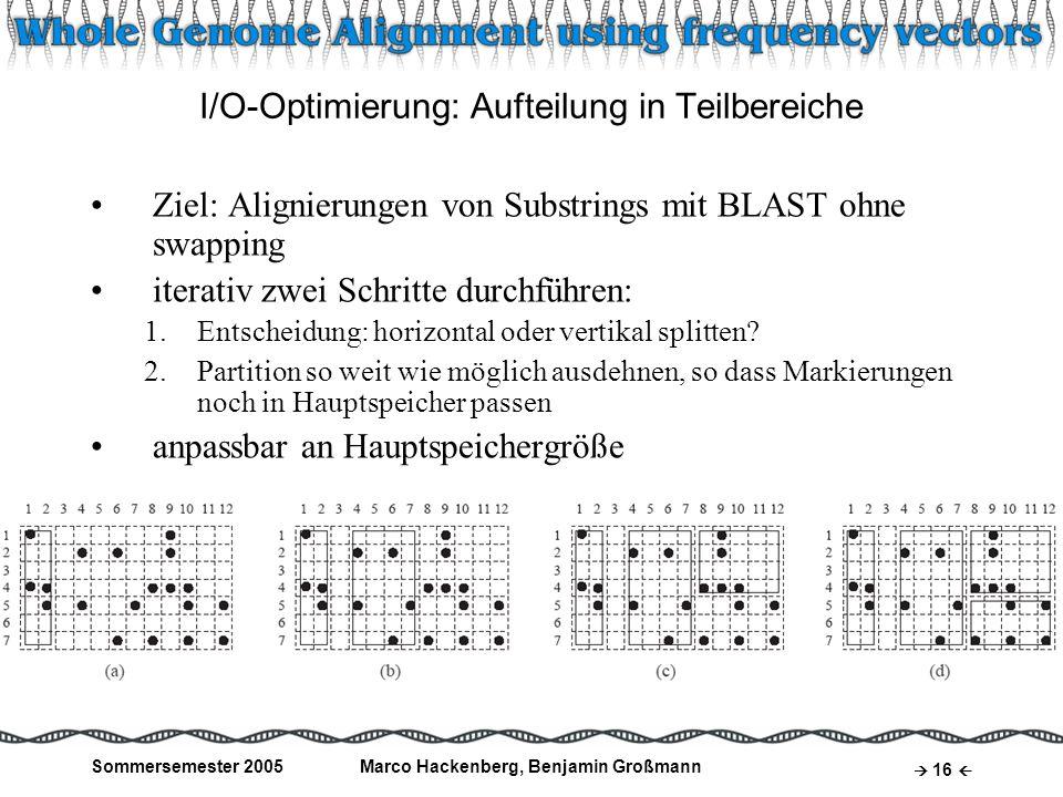 Sommersemester 2005Marco Hackenberg, Benjamin Großmann 16 I/O-Optimierung: Aufteilung in Teilbereiche Ziel: Alignierungen von Substrings mit BLAST ohn