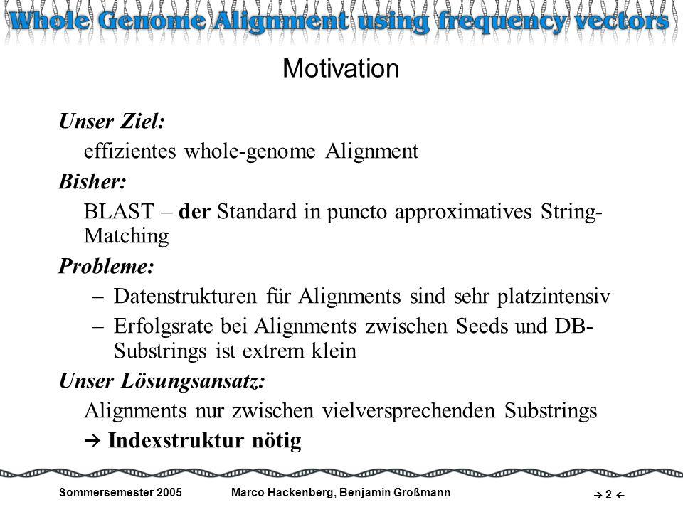 Sommersemester 2005Marco Hackenberg, Benjamin Großmann 3 Frequency Vectors Idee: –Über Substrings fest definierter Länge werden Häufigkeiten auftretender Zeichen gespeichert –Diese Anzahl der Vorkommnisse wird für jedes Zeichen des Alphabets Σ im frequency vector υ festgehalten –Die Dimension von υ ist somit σ =  Σ  Beispiel: S = GTAATACTTCGATATAA Σ = {A,C,G,T} υ = (#A, #C, #G, #T) = (7, 2, 2, 6) σ = 4