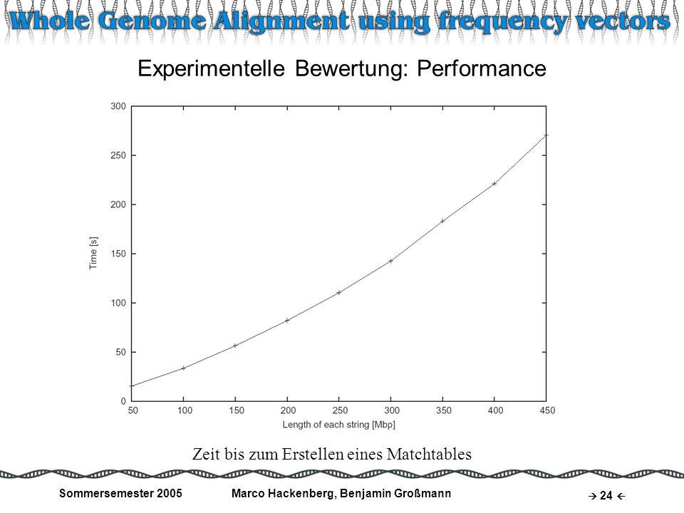 Sommersemester 2005Marco Hackenberg, Benjamin Großmann 24 Zeit bis zum Erstellen eines Matchtables Experimentelle Bewertung: Performance