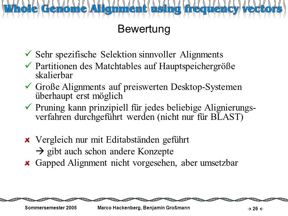 Sommersemester 2005Marco Hackenberg, Benjamin Großmann 26 Bewertung Sehr spezifische Selektion sinnvoller Alignments Partitionen des Matchtables auf H