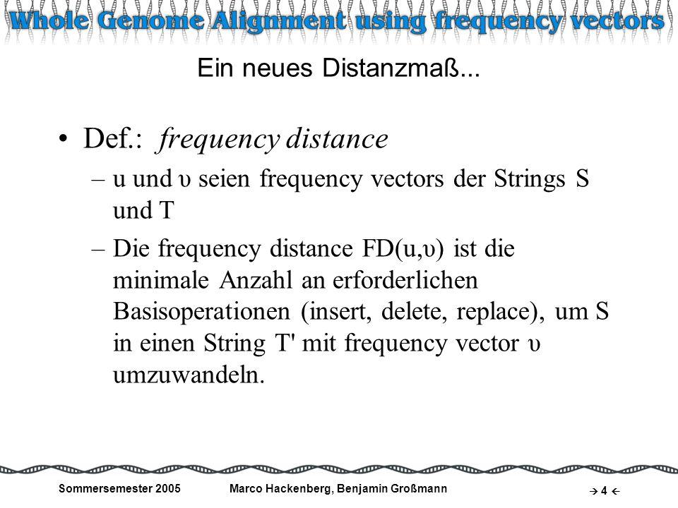 Sommersemester 2005Marco Hackenberg, Benjamin Großmann 5 Frequency Vectors: Beispiel Gegeben sind frequency vectors u und υ zweier Strings: u = (4, 0, 0, 2)υ = (2, 1, 1, 2) Frequency distance: FD(u,υ) = 2 2x Replace: A C, A G