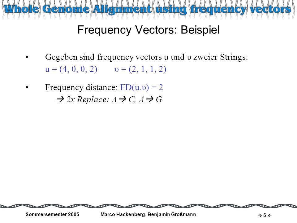Sommersemester 2005Marco Hackenberg, Benjamin Großmann 6 Frequency Vectors: Beispiel Gegeben sind frequency vectors u und υ zweier Strings: u = (4, 0, 0, 2)υ = (2, 1, 1, 2) Frequency distance: FD(u,υ) = 2 2x Replace: A C, A G mögliche Repräsentanten für u und υ: S: TATAAA T: TATCGA Editabstand: ED(S,T) = 2 ED(S,T) = FD(u,υ) S : TATAAA T : TTACGA Editabstand: ED(S,T ) = 4 ED(S,T ) > FD(u,υ)