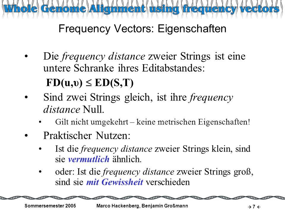 Sommersemester 2005Marco Hackenberg, Benjamin Großmann 7 Frequency Vectors: Eigenschaften Die frequency distance zweier Strings ist eine untere Schran