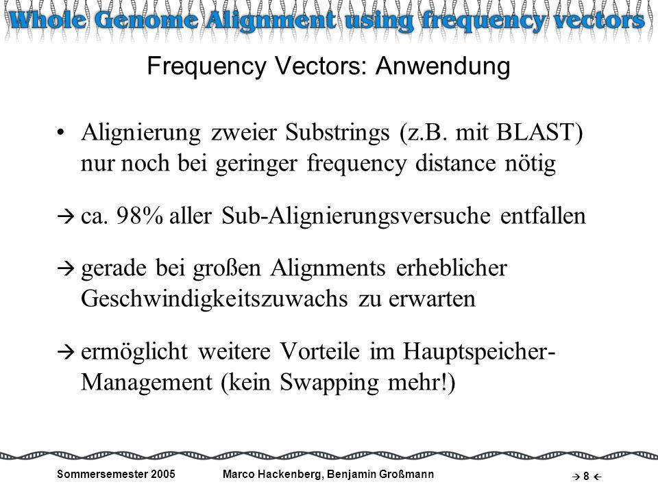 Sommersemester 2005Marco Hackenberg, Benjamin Großmann 8 Frequency Vectors: Anwendung Alignierung zweier Substrings (z.B. mit BLAST) nur noch bei geri
