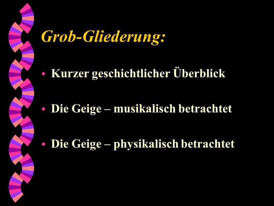 Grob-Gliederung: w Kurzer geschichtlicher Überblick w Die Geige – musikalisch betrachtet w Die Geige – physikalisch betrachtet