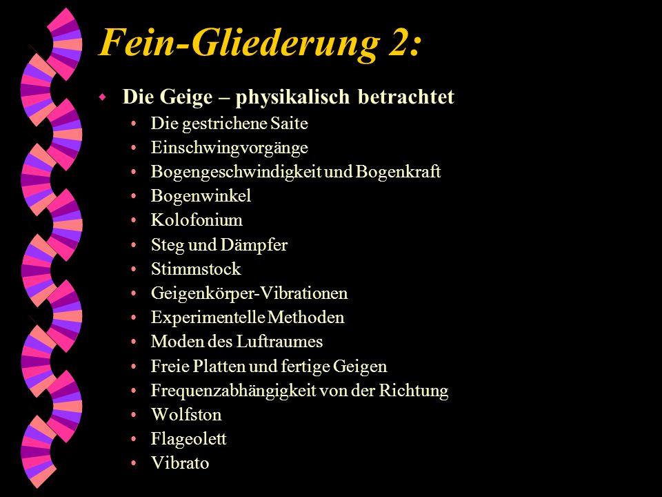 Fein-Gliederung 2: w Die Geige – physikalisch betrachtet Die gestrichene Saite Einschwingvorgänge Bogengeschwindigkeit und Bogenkraft Bogenwinkel Kolo