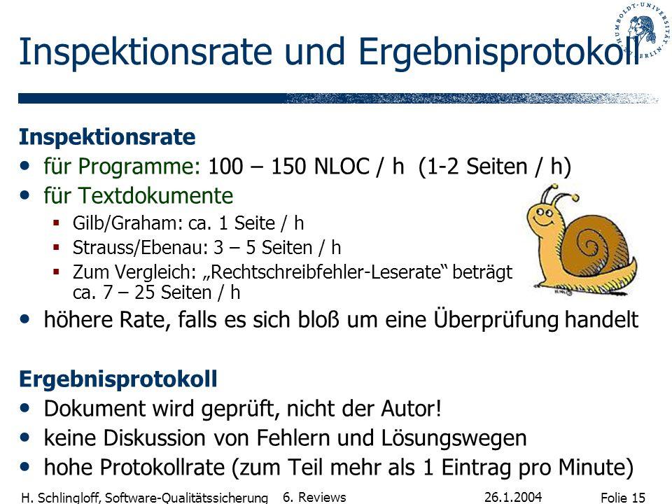 Folie 15 H. Schlingloff, Software-Qualitätssicherung 26.1.2004 6. Reviews Inspektionsrate und Ergebnisprotokoll Inspektionsrate für Programme: 100 – 1