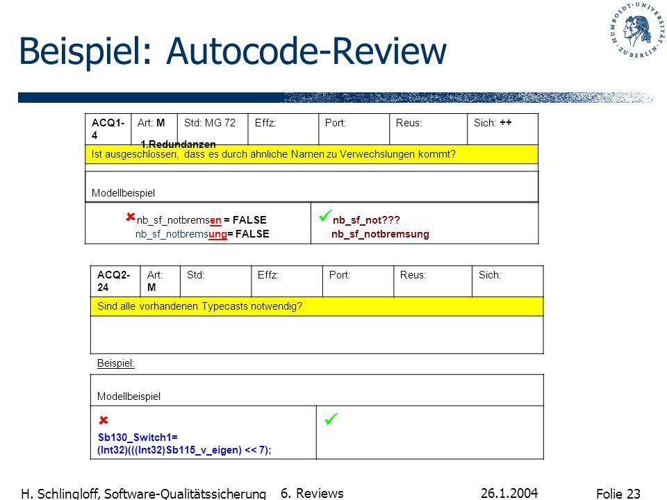 Folie 23 H. Schlingloff, Software-Qualitätssicherung 26.1.2004 6. Reviews Beispiel: Autocode-Review ACQ1- 4 Art: MStd: MG 72Effz:Port:Reus:Sich: ++ Is