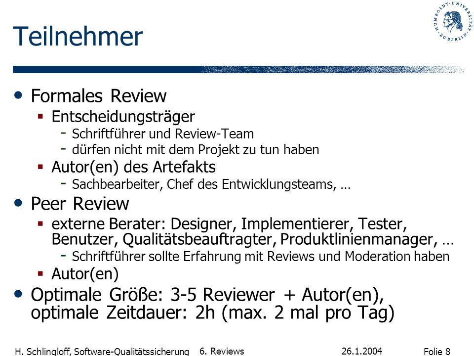 Folie 8 H. Schlingloff, Software-Qualitätssicherung 26.1.2004 6. Reviews Teilnehmer Formales Review Entscheidungsträger - Schriftführer und Review-Tea