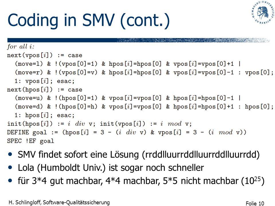 Folie 10 H. Schlingloff, Software-Qualitätssicherung Coding in SMV (cont.) SMV findet sofort eine Lösung (rrddlluurrddlluurrddlluurrdd) Lola (Humboldt