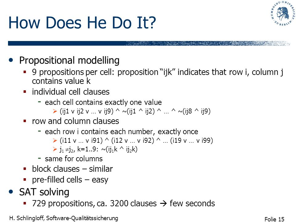 Folie 15 H. Schlingloff, Software-Qualitätssicherung How Does He Do It? Propositional modelling 9 propositions per cell: proposition ijk indicates tha