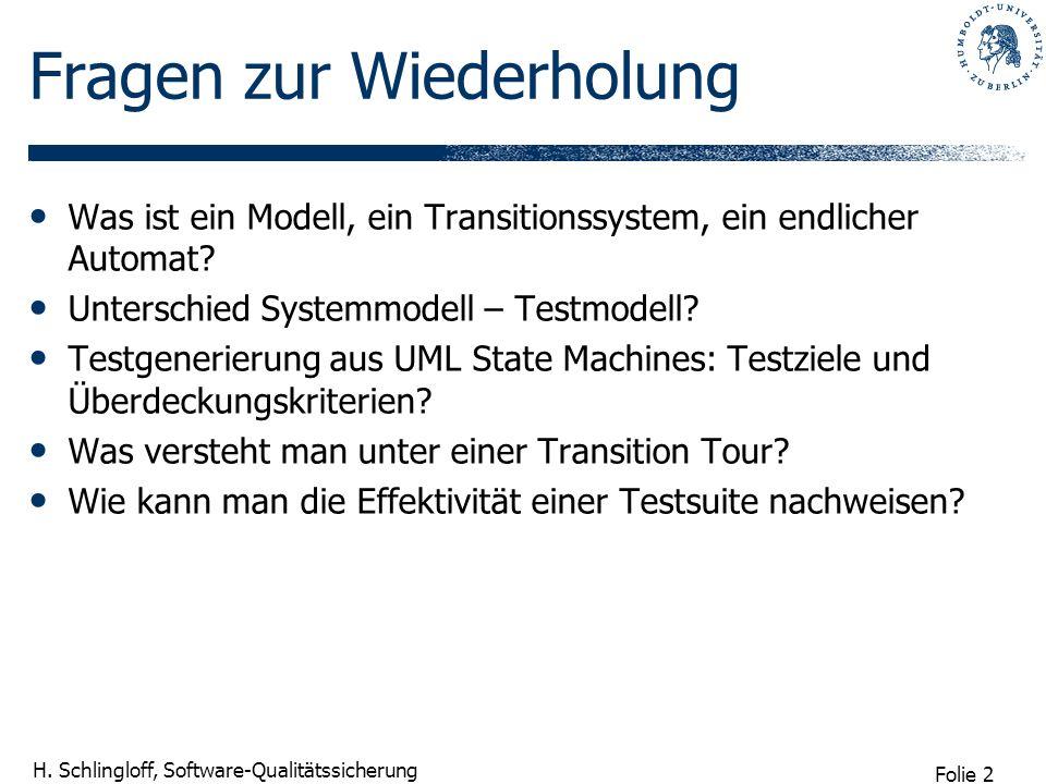 Folie 2 H. Schlingloff, Software-Qualitätssicherung Fragen zur Wiederholung Was ist ein Modell, ein Transitionssystem, ein endlicher Automat? Untersch