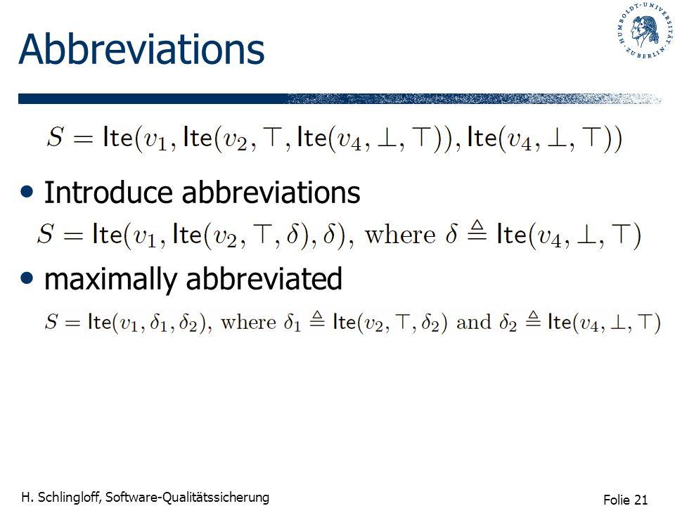 Folie 21 H. Schlingloff, Software-Qualitätssicherung Abbreviations Introduce abbreviations maximally abbreviated