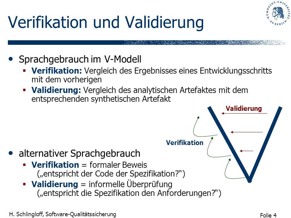 Folie 4 H. Schlingloff, Software-Qualitätssicherung Sprachgebrauch im V-Modell Verifikation: Vergleich des Ergebnisses eines Entwicklungsschritts mit