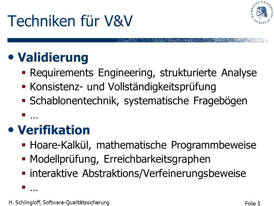 Folie 5 H. Schlingloff, Software-Qualitätssicherung Techniken für V&V Validierung Requirements Engineering, strukturierte Analyse Konsistenz- und Voll