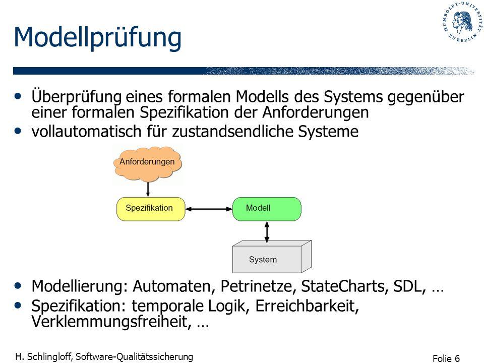 Folie 6 H. Schlingloff, Software-Qualitätssicherung Modellprüfung Überprüfung eines formalen Modells des Systems gegenüber einer formalen Spezifikatio