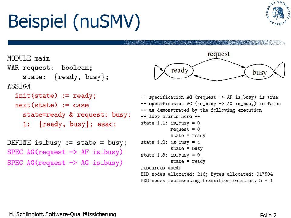 Folie 7 H. Schlingloff, Software-Qualitätssicherung Beispiel (nuSMV)