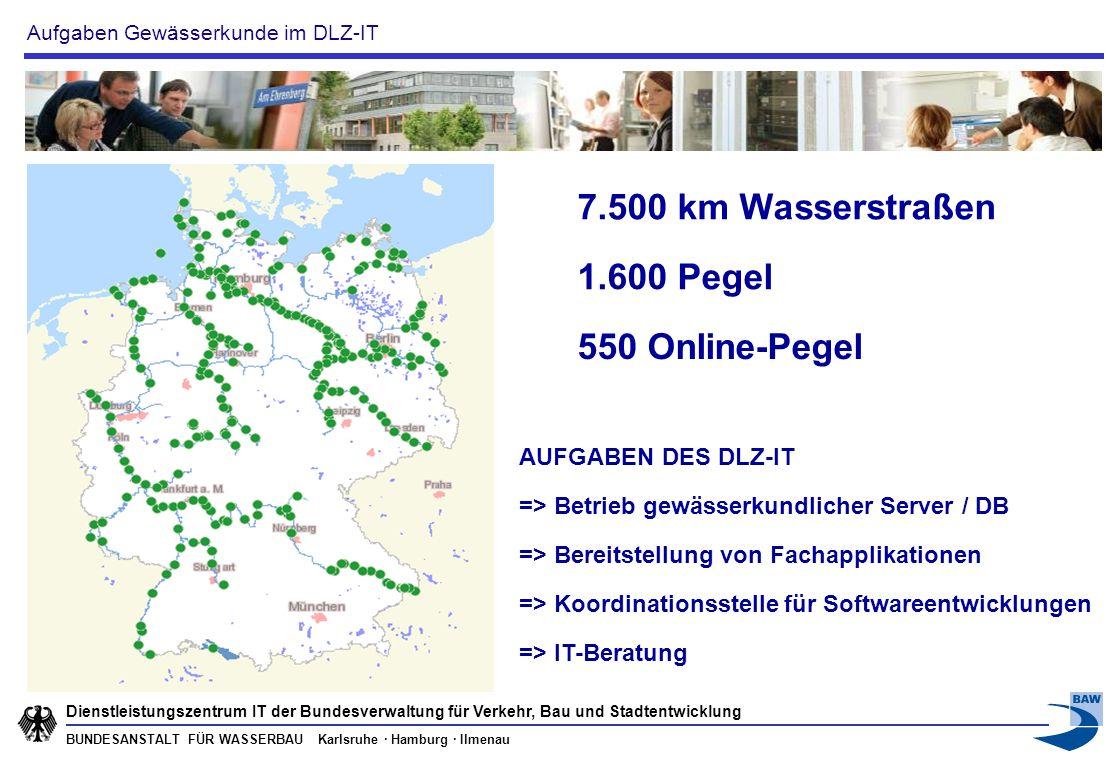 BUNDESANSTALT FÜR WASSERBAU Karlsruhe · Hamburg · Ilmenau Dienstleistungszentrum IT der Bundesverwaltung für Verkehr, Bau und Stadtentwicklung Pegelmessnetz der WSV (~1.600 Messstellen mit 1-15 Minuten Werten; davon ~550 Online-Messstellen) Grundwassermessnetze einzelner WSÄ (>10.000 Messstellen mit Minuten - h Werten, überwiegend lokaler Einsatz von Datenloggern) Messnetze zur Anlagenüberwachung - wie Schleusen, Wehre und Hebewerke (>1.000 Messstellen mit Minuten Werten, kleine Messnetze mit Datenloggern und Online Übertragung) Hunderte Messnetze mit über 10.000 Messstellen und Sensoren 3.
