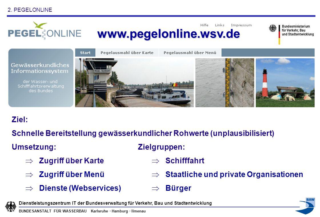 BUNDESANSTALT FÜR WASSERBAU Karlsruhe · Hamburg · Ilmenau Dienstleistungszentrum IT der Bundesverwaltung für Verkehr, Bau und Stadtentwicklung => Karten Webservice (OGC WMS 1.1.1) => Freier Daten-Webservice (W3C-konform, Echtzeitdaten) => Freier Daten-Webservice (W3C-konform, Archivdaten) => Interner Daten-Webservice für WSV-IT-Verfahren (ELWIS) => Freier Webservice für Standard-Office-Produkte => Ganglinienvisualisierung als Webservice => Freier Daten-Webservice (OGC SOS 1.0.0) Anzahl: 7 (sieben) Inhalte dieser Webservices: Pegeldaten .