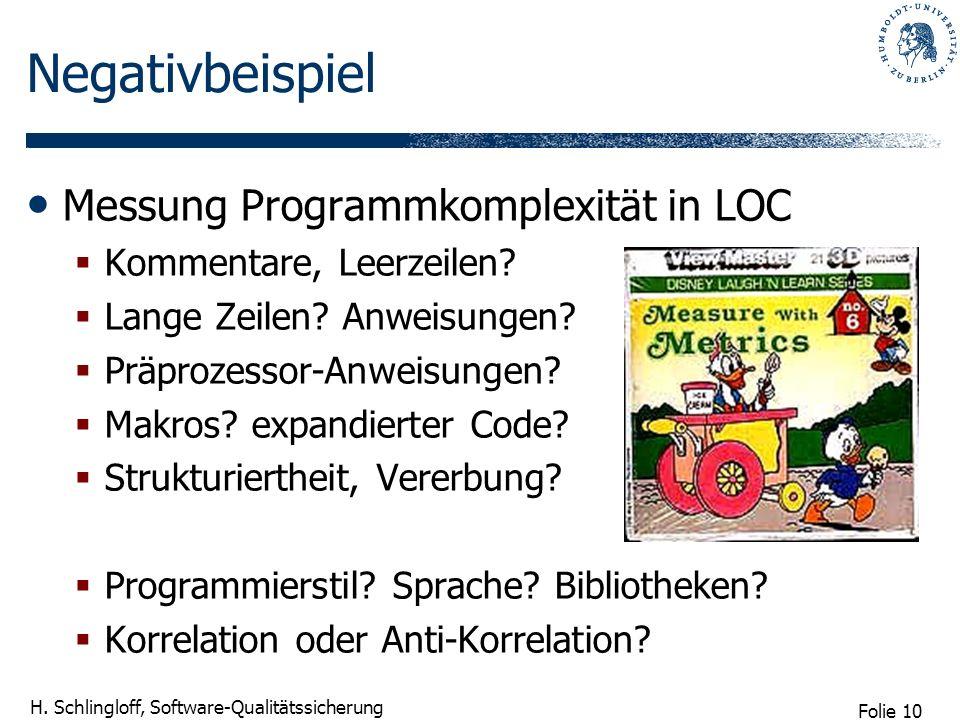 Folie 10 H. Schlingloff, Software-Qualitätssicherung Negativbeispiel Messung Programmkomplexität in LOC Kommentare, Leerzeilen? Lange Zeilen? Anweisun