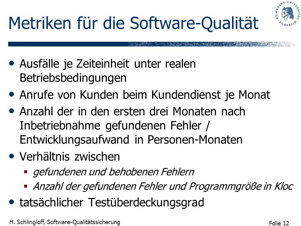 Folie 12 H. Schlingloff, Software-Qualitätssicherung Metriken für die Software-Qualität Ausfälle je Zeiteinheit unter realen Betriebsbedingungen Anruf