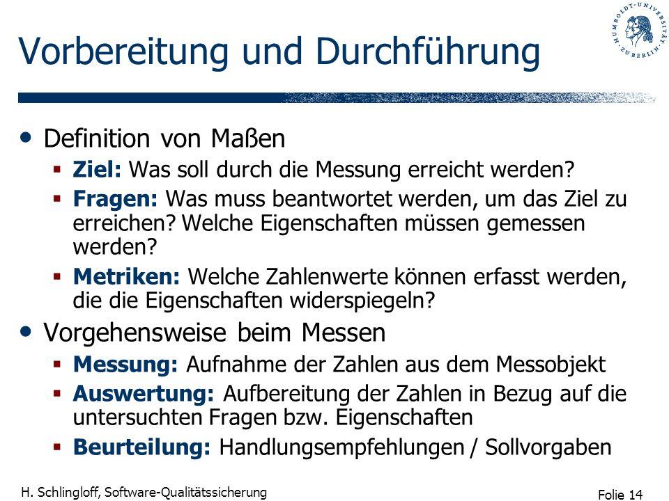Folie 14 H. Schlingloff, Software-Qualitätssicherung Vorbereitung und Durchführung Definition von Maßen Ziel: Was soll durch die Messung erreicht werd