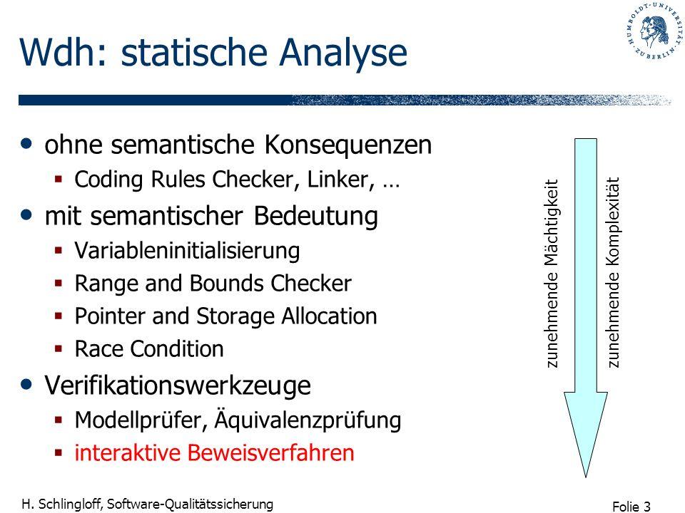 Folie 3 H. Schlingloff, Software-Qualitätssicherung Wdh: statische Analyse ohne semantische Konsequenzen Coding Rules Checker, Linker, … mit semantisc